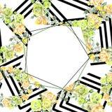 Nam boeket bloemen botanische bloemen toe Waterverf achtergrondillustratiereeks Het ornamentvierkant van de kadergrens vector illustratie