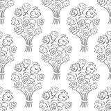 Nam boeket naadloos patroon toe Hand getrokken overzichtsachtergrond Het behang van de bloemschets Stock Afbeelding