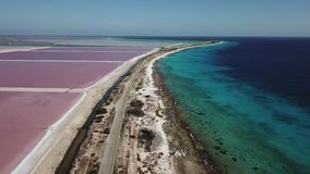 Nam Caraïbische zoute van de het eiland luchthommel van meerbonaire hoogste de menings4k UHD video toe stock videobeelden