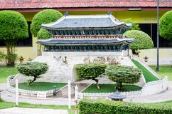 Nam Dae mun gate at miniature park is an open space that displays miniature buildings and models. royalty free stock photos