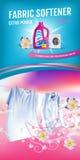 Nam de advertenties van het de wateronthardergel van de geurstof toe Vector realistische Illustratie met wasserijkleren en de con royalty-vrije illustratie