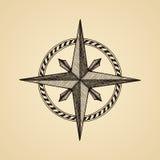 Nam de hand getrokken kompaswind symbool toe vector illustratie