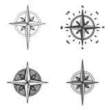 Nam de hand getrokken kompaswind symbool toe stock illustratie