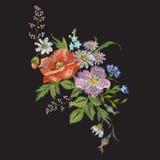 Nam het borduurwerk bloemenpatroon met hond en korenbloemen toe Stock Foto