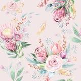 Nam het de waterverf bloemenpatroon van de handtekening met protea, bladeren, takken en bloemen toe Boheems naadloos gouden roze royalty-vrije illustratie