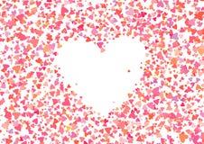Nam kleurenconfettien met hartvormen toe Romaanse roze achtergrond voor Valentijnskaartendag, Royalty-vrije Stock Afbeelding