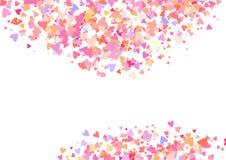 Nam kleurenconfettien met hartvormen toe Romaanse roze achtergrond voor Valentijnskaartendag, Royalty-vrije Stock Afbeeldingen