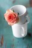 Nam met koffiemokken toe Stock Foto's