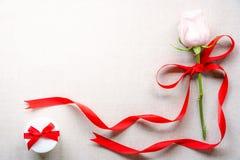 Nam met rood lint en een leuke giftdoos toe Stock Afbeelding