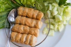 Nam Neung. Vietnamese Meatball Wraps on a dish Stock Photo