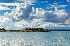 Nam Ngum Lake In Laos. Landscape with islands and clouds royalty free stock photo