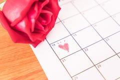 nam op de kalender met de datum van 14 Februari DA van Valentine toe Royalty-vrije Stock Foto's