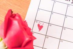 nam op de kalender met de datum van 14 Februari DA van Valentine toe Royalty-vrije Stock Foto