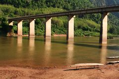 Nam-ou bridge at nhong-kiew Royalty Free Stock Photos