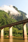 Nam-ou bridge at nhong-kiew Royalty Free Stock Image