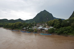 Nam Ou river in Nong Khiaw village Royalty Free Stock Photography