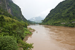 Nam Ou river. In Nong Khiaw village, northern Laos stock image