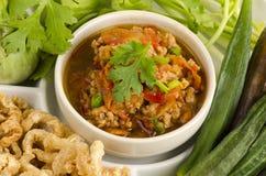 Nam Prik Aong (泰国名字) (北泰国肉和蕃茄辣垂度) 免版税库存照片