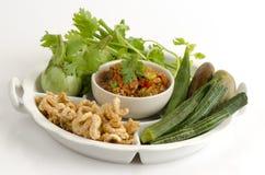 Nam Prik Aong (nome tailandês) (mergulho picante tailandês do norte da carne e do tomate) Imagens de Stock