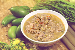 Nam prik or chili paste served with vegetables Stock Photos