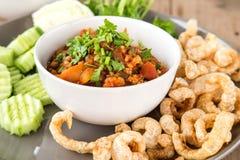 Nam Prik Ong , chili pork , Fried pork skin , Vegetable on woode Stock Photography