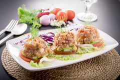 Nam prik ong, Thai northern style chili paste cooktail food. Royalty Free Stock Photos