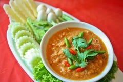 Nam prik pla ra thai food. Eat with herb and fresh vegetable Stock Image