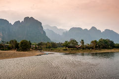 Nam Song River. With Mountains Royalty Free Stock Photo