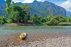 Nam Song River. Vang Vieng. Laos Royalty Free Stock Photo