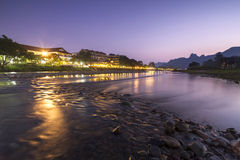 Nam Song river in Vang Vieng, Laos. Nam Song river during the evening hours Stock Photos