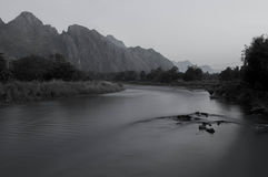 Nam Song River. Vang vieng laos. monochrome pic Royalty Free Stock Image