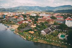 Nam Song River in Vang Vieng, Vientiane Province, Laos. Vang Vieng is a popular destination for adventure tourism in limestone. Nam Song River in Vang Vieng stock photos