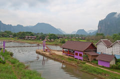 View of VangVieng in the morning. Laos. Royalty Free Stock Image