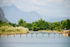 Nam Vang的Vieng,老挝歌曲河 免版税库存图片