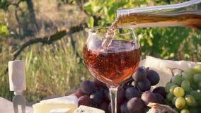 Nam wijn kan in een glas worden gegoten toe stock video