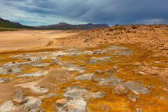 Namafjall, a Geothermal Area with Sulfur Fields in Iceland Royalty Free Stock Photo