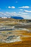 Namafjall Hverir en Herðubreið, IJsland. Royalty-vrije Stock Foto's