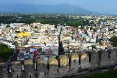 Namakkal, Tamilnadu - India - Oktober 17, 2018: De hoogste mening van de stad royalty-vrije stock foto's