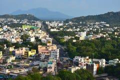 Namakkal, Tamilnadu - India - Oktober 17, 2018: Panorama van Namakkal van Heuveltje royalty-vrije stock afbeelding