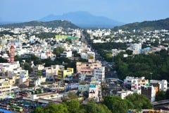 Namakkal, Tamilnadu - India - Oktober 17, 2018: Stadsweergeven van Namakkal van Heuveltje stock afbeeldingen