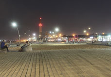 Namal Old Port in Tel Aviv, Israel bis zum Nacht Lizenzfreie Stockbilder