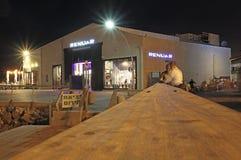 Namal Old Port in Tel Aviv, Israel bis zum Nacht Stockfotografie
