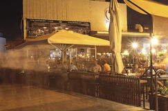 Namal Old Port in Tel Aviv, Israel bis zum Nacht Lizenzfreie Stockfotos