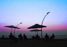 Namal Old Port in Tel Aviv, Israel durch Sonnenuntergang Lizenzfreies Stockfoto