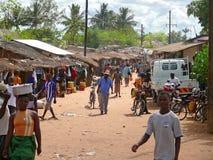 NAMAPA,莫桑比克- 6个DESEMBER 2008年:村庄中心。 库存照片