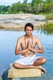 Namaskara by the river Royalty Free Stock Photography