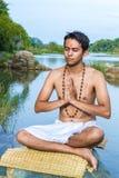 Namaskara by the river Royalty Free Stock Image