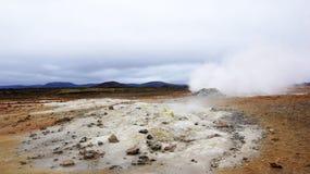 Namaskard area steaming fumerole. Fumerole and the Namaskard area Hverir near the Myvatn lake stock image