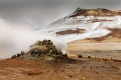 Namaskard geothermal active volcanic area Stock Images