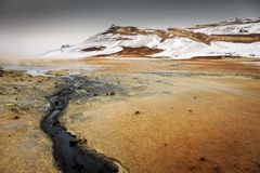 Namaskard geothermal active volcanic area in North West Iceland. Boiling mud royalty free stock image
